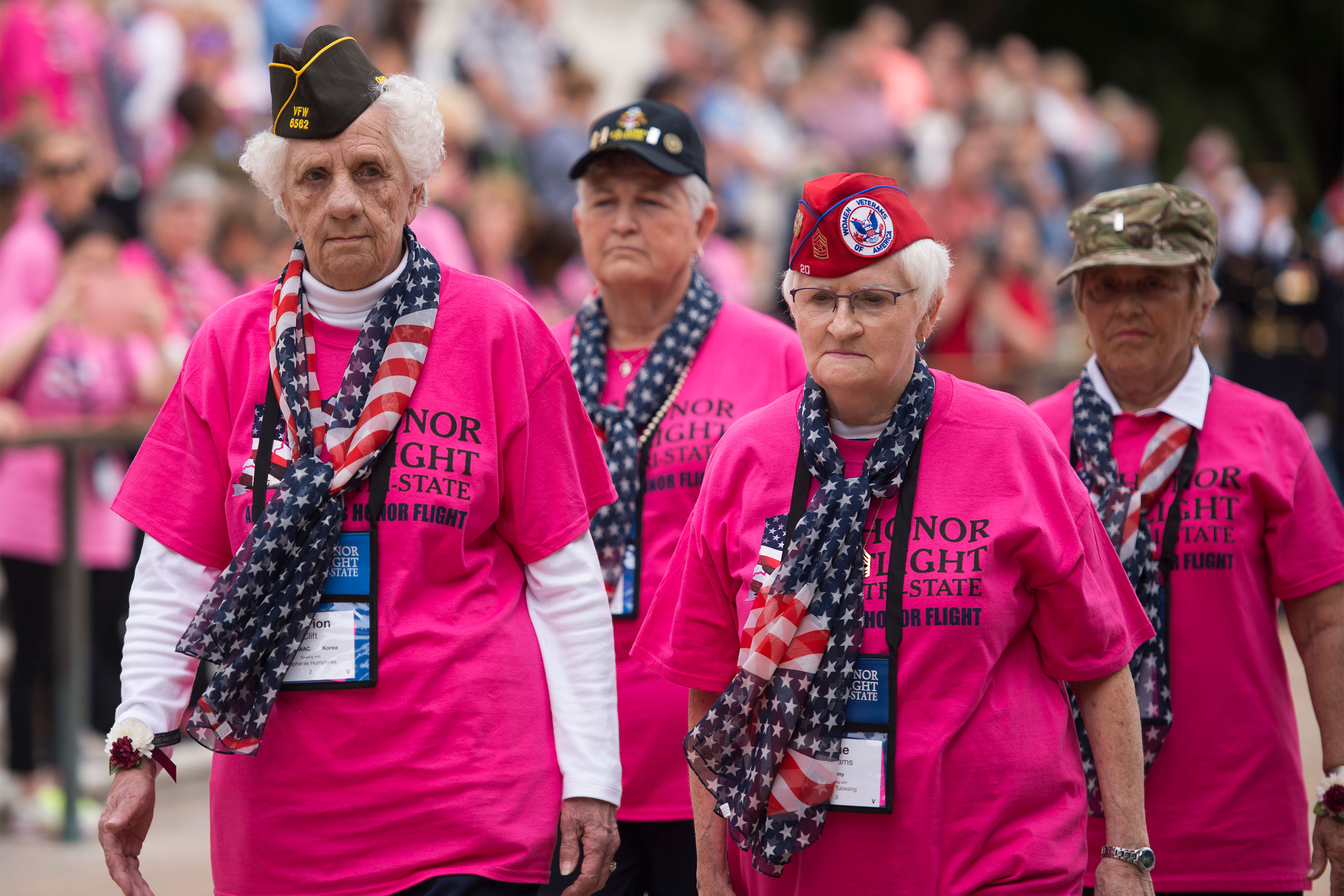 From the left, Women's Army Corps veteran Marion Clift, Army veteran Betty Downs, Army veteran Sue Williams and veteran Army nurse Beverly Reno walk away from the Tomb of the Unknown Soldier after laying a wreath at Arlington National Cemetery, Sept. 22, 2015, in Arlington, Va. They are part of the first all-female honor flight in the United States. 75 female veterans from World War II, Korean War and Vietnam War were in attendance, as well as 75 escorts, who were also female veterans or active-duty militar