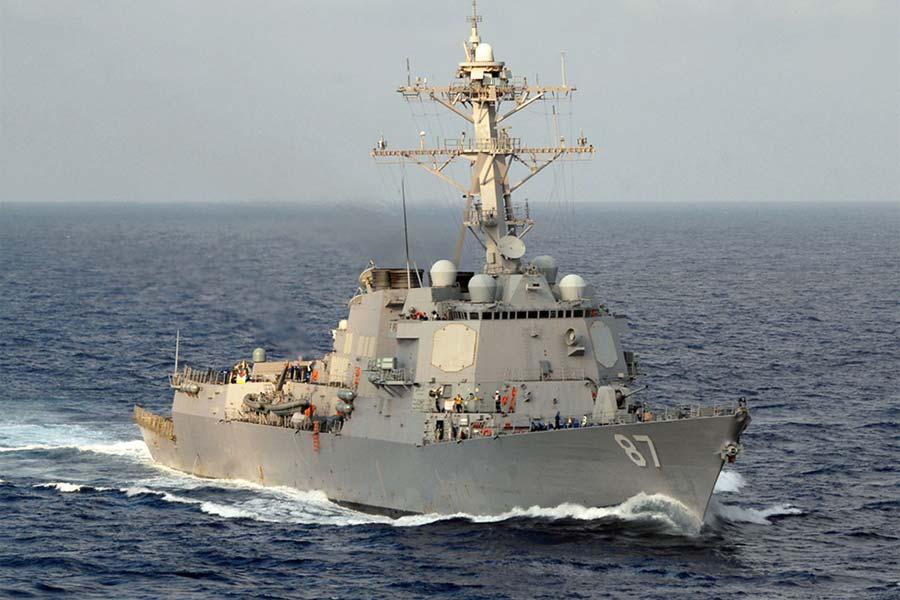 navy destroyer fires missiles in self