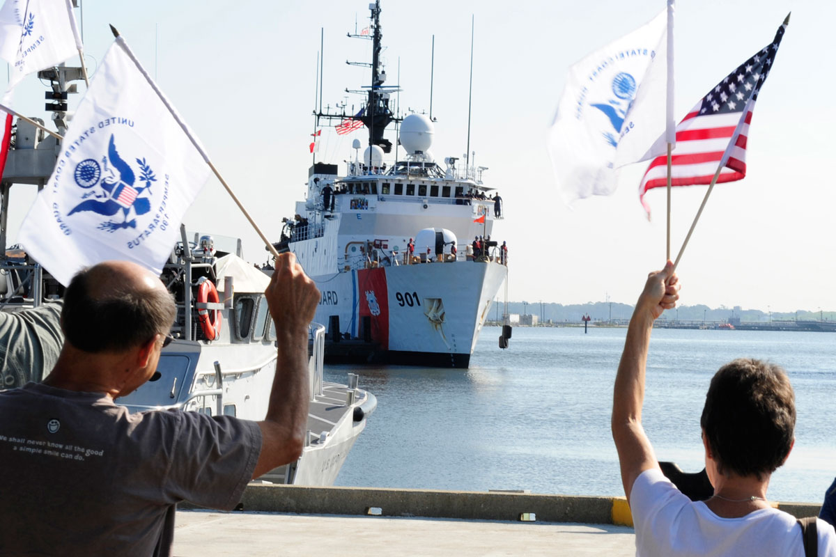 Family Members Welcome Home Coast Guard Crew