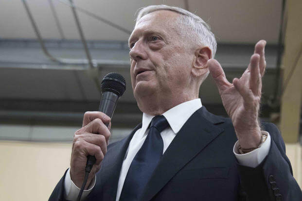 U.S. Secretary of Defense James Mattis speaks with a group of service members during his visit to Train Advise Assist Command East, September 27, 2017. (U.S. Army photo/Sgt. 1st Class Randall Pike)