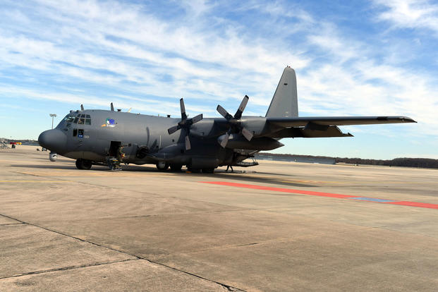 An AC 130 Whiskey Gunship parks on the Base Operations red carpet area at Robins Air Force Base Thursday, Feb. 9, 2017. (U.S. Air Force photo/Tommie Horton)