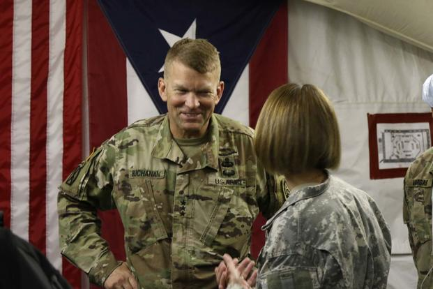 Army Lt. Gen. Jeffrey S. Buchanan, the commander of ground forces on the island of Puerto Rico, tours the 14th Combat Army Support Hospital in Humacao November 3, 2017. (U.S. Army/Sgt. 1st Class Laura Berry)