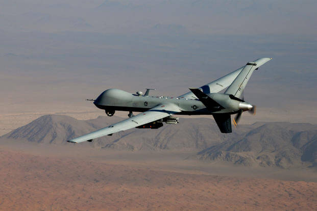 An MQ-9 Reaper drone, armed with GBU-12 Paveway II laser guided munitions and AGM-114 Hellfire missiles. (US Air Force Photo/Leslie Pratt)