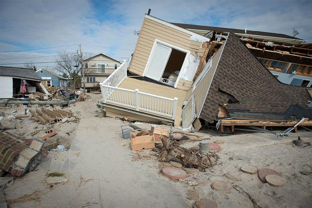 A house damaged by Hurricane Sandy