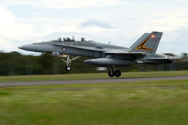 A Royal Australian Air Force F-18A Hornet takes off from RAAF Williamtown, during Exercise Diamond Shield 2017 in New South Wales, Australia, March 21, 2017. (U.S. Air Force/Tech. Sgt. Steven R. Doty)