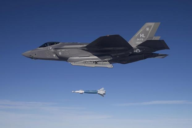The U.S. Air Force drops a Paveway II laser-guided bomb made by Raytheon from an F-35A at the Utah Test and Training Range in this undated photo. (Air Force photo)
