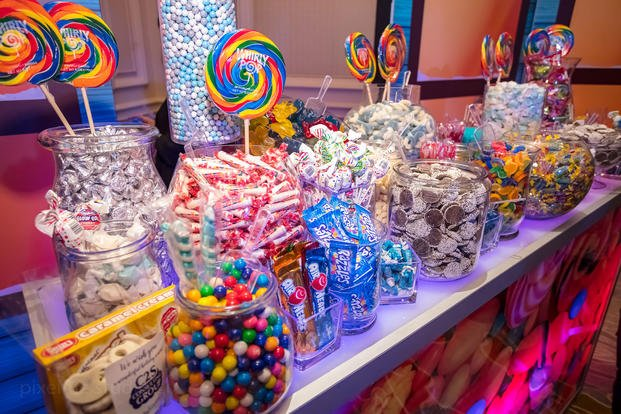 A candy counter at the Yellow Ribbons United Winter Wonderland event for the kids of deployed troops (Yellow Ribbons United)