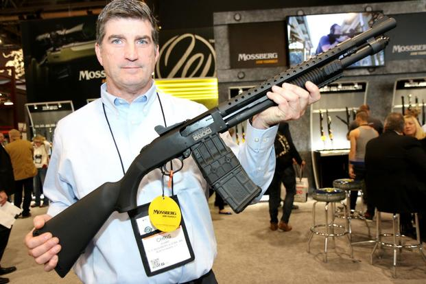 Mossberg's new detachable magazine shotgun, the 590M pump shotgun at SHOT Show 2018. (Matthew Cox/Military.com)
