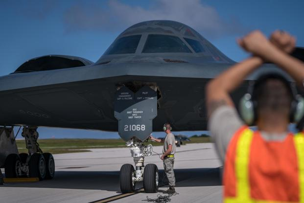 A B-2 Spirit, assigned to the 509th Bomb Wing, Whiteman Air Force Base, taxis on the flightline Jan. 8, 2018, at Andersen Air Force Base, Guam. (U.S. Air Force/Staff Sgt. Joshua Smoot)