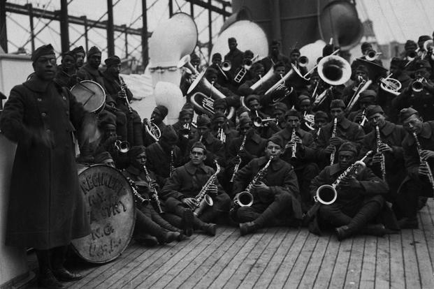 [African American] Jazz Band and Leader Back with [African American] 15th New York. Lieutenant James Reese Europe who for four years [was] New York Society's favorite orchestra (dance) leader formerly with Vernon Castle returned with his regiment the 369th Infantry. (National Archives)