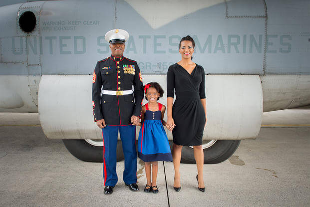 Lakesha Cole, pictured with her husband Gunnery Sgt. Deonte Cole in 2014. (Marine Corps/Molly Rogers)