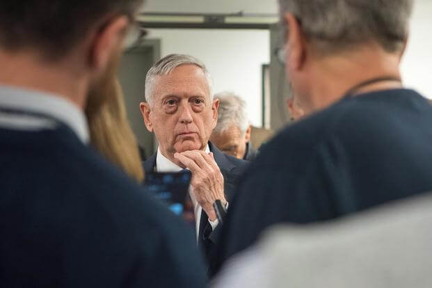 Defense Secretary James N. Mattis speaks with members of the press at the Pentagon in Washington, D.C., Jan. 5, 2018. (DoD photo by Army Sgt. Amber I. Smith)