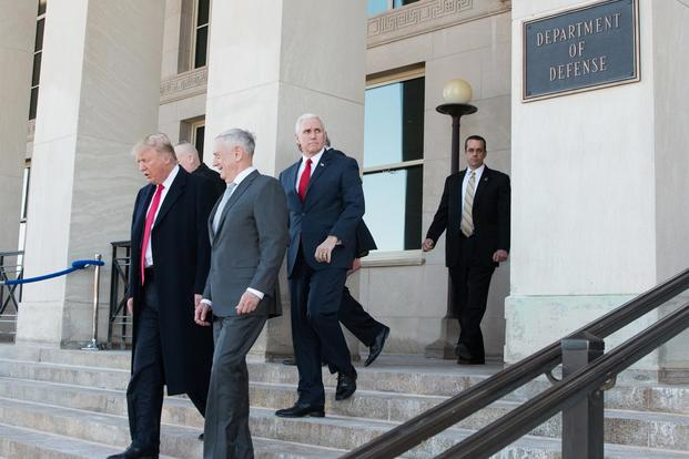 President Donald Trump walks with Defense Secretary James Mattis following a meeting at the Pentagon in Washington, D.C., Jan. 18, 2018 (DoD/U.S. Army Sgt. Amber I. Smith)
