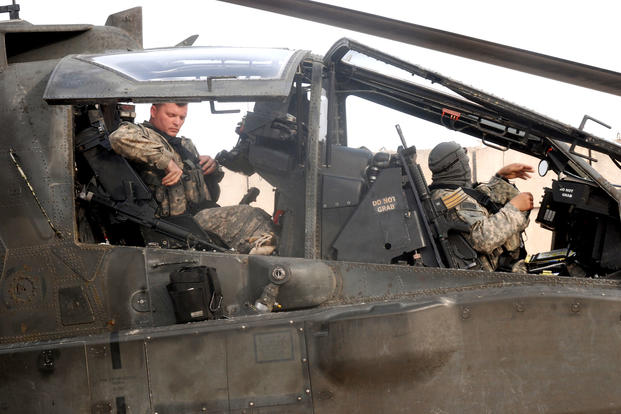 An AH-64D Apache Longbow crew from the 1st Attack Reconnaissance Battalion, 130th Aviation Regiment, prepares for a mission from Contingency Operating Base Delta in Iraq, February 2010. (US Army photo/Cody Harding)