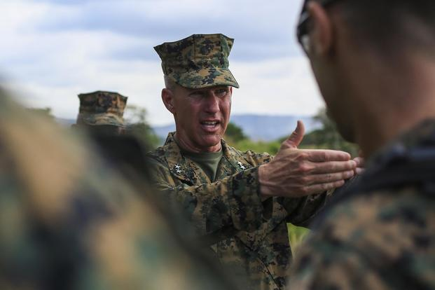 Maj. Gen. Eric M. Smith, commanding general of 1st Marine Division, discusses the tactics used during the Battle of Guadalcanal at Bloody Ridge in Guadalcanal, Solomon Island, on Aug. 9, 2017. Sgt. Wesley Timm/Marine Corps