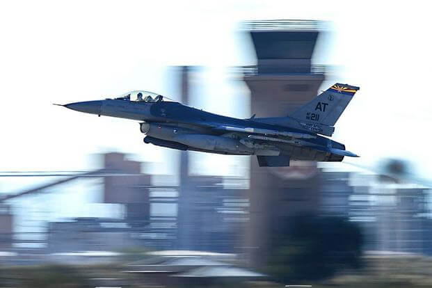 An F-16 Fighting Falcon assigned to the Air National Guard Air Force Reserve Test Center takes off from Davis-Monthan Air Force Base, Ariz., on Jan. 19, 2017. A similar F-16 jet based out of the Arizona Air National Guard's 162nd Wing in Tucson landed safely at a Phoenix airport after striking a cable. Nathan H. Barbour/Air Force