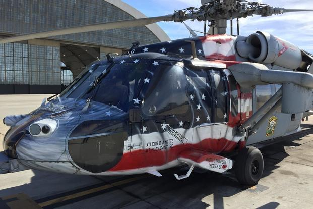 Shayne Meder's favorite helicopter, the show bird for HSC-21, which is also the 50th Seahawk she painted. (Photo: Daniel Langhorne)