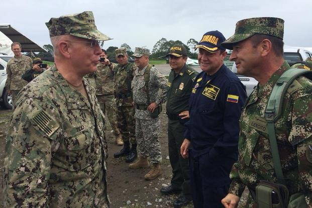 U.S. Navy Adm. Kurt W. Tidd, commander of U.S. Southern Command, talks with members of the Colombian military during a visit to Colombian military unit in Tumaco. (Helena Escorcia/U.S. Embassy Colombia)