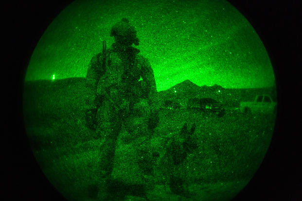 Camp Pendleton Marines conduct night-time K9 training Jan. 24, 2018. (U.S. Marine Corps/Lukas Kalinauskas.)