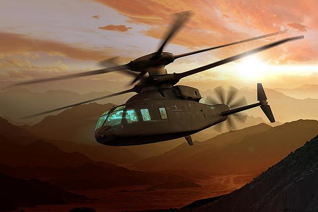 Sikorsky and Boeing are offering the SB>1 Defiant for the Army's Future Vertical Lift Program. Courtesy of Sikorsky-Boeing