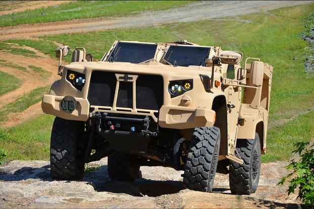 The Joint Light Tactical Vehicle climbs extreme terrain at the U.S. Marine Corps Transportation Demonstration Support Area aboard Marine Corps Base Quantico, Va., March 1, 2018. (U.S. Army photo)