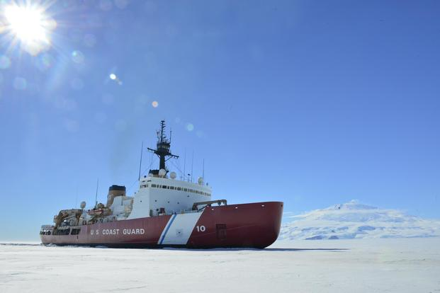 The Coast Guard Cutter Polar Star breaks ice in McMurdo Sound near Antarctica on Jan. 13, 2018, in support of Operation Deep Freeze 2018, the U.S. military's contribution to the National Science Foundation-managed U.S. Antarctic Program. Chief Petty Officer Nick Ameen/Coast Guard