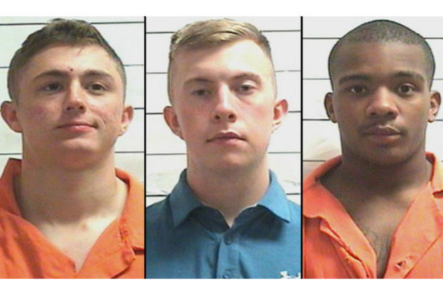 U.S. Marines (from left) Jared Anderson, Alexander Davenport and Antonio Landrum were arrested in New Orleans. (Photo courtesy Orleans Parish Sheriff's Office)