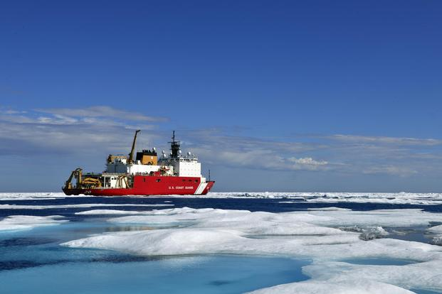 The Coast Guard Cutter Healy, a medium icebreaker, sits in the Chukchi Sea off the coast of Alaska during an Arctic deployment in support of polar operations, Saturday, July 29, 2017. (U.S. Coast Guard/Petty Officer 2nd Class Meredith Manning)