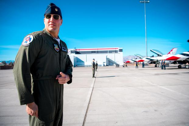 Maj. Stephen Del Bagno, Thunderbird 4/Slot Pilot, prepares to march to his F-16 Fighting Falcon during a modified ground show practice at Nellis Air Force Base, Nev., Jan. 26, 2018. (U.S. Air Force Photo/Master Sgt. Christopher Boitz)