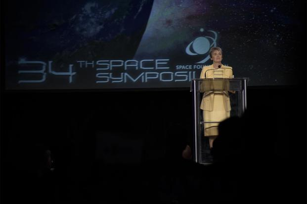 Secretary of the Air Force Heather Wilson delivers the key note address at the 34th Annual Space Symposium April 17, 2018, in Colorado Springs, Colo. During her speech Wilson announced new ways in which the Air Force will be more lethal, resilient and agile in space. (U.S. Air Force/Senior Airman Dennis J. Hoffman)