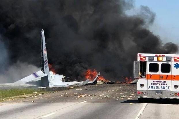 Air National Guard C-130 cargo plane crash near airport in Savannah, Georgia, May 2, 2018. (Photo:Courtesy of Savannah Professional Firefighters Association)