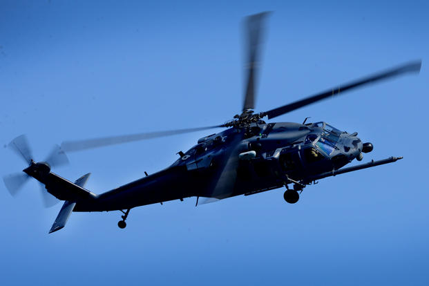 An HH-60G Pave Hawk assigned to the 56th Rescue Squadron flies over Royal Air Force Lakenheath, England, April, 20, 2018. (U.S. Air Force photo/Matthew Plew)