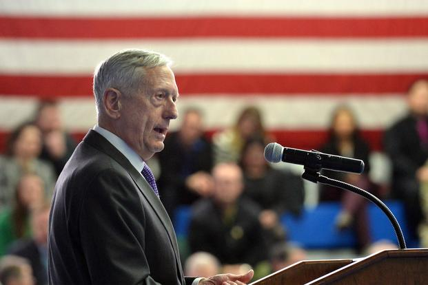 Secretary of Defense Jim Mattis led a town hall meeting with military and Civilian personnel at U.S. European Command during the Stuttgart, Germany, stop of his trip to Europe February 15, 2018. (U.S. Army/Visual Information Specialist Jason Johnston)