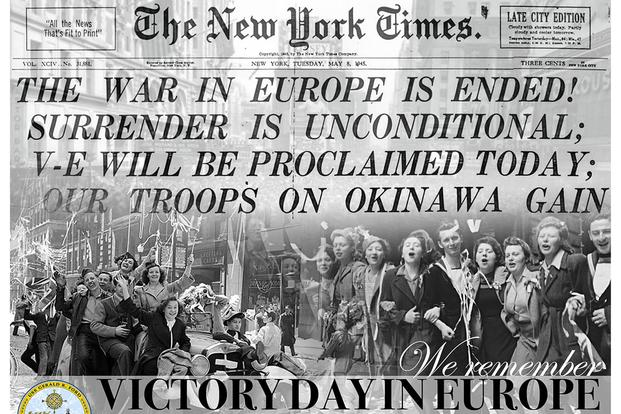 Victory Day in Europe graphic. (U.S. Navy graphic by Mass Communication Specialist 3rd Class Cat Campbell)