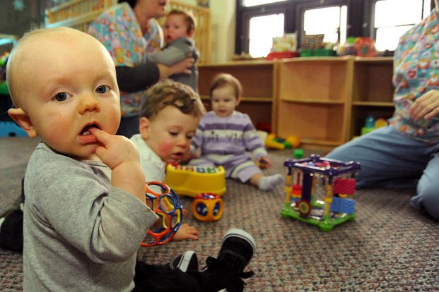 Babies play at a Coast Guard child development center. (U.S. Coast Guard/Donnie Brzuska)