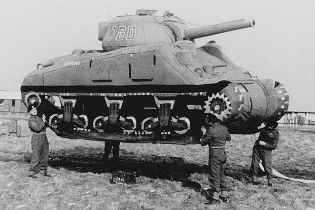 Inflatable tank for Ghost Army (National Archives photo)