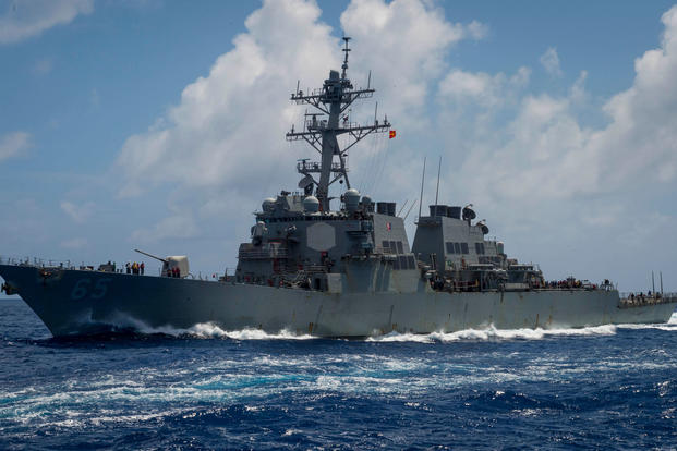 The Arleigh Burke-class guided-missile destroyer USS Benfold (DDG 65) transits the Philippine Sea, June 14, 2018. (U.S. Navy photo/Sarah Myers)