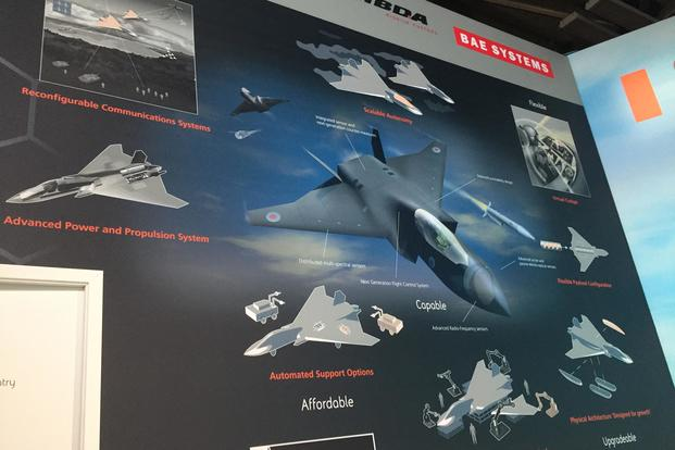 Display for the BAE Systems Tempest aircraft at Farnborough Air Show, Tuesday, July 17, 2018. (Oriana Pawlyk/Military.com)