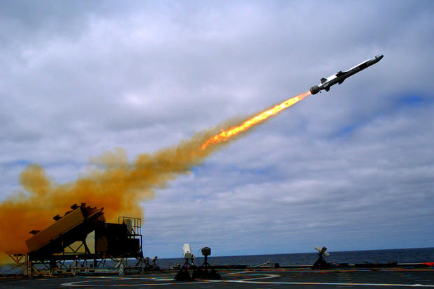 A Kongsberg Naval Strike Missile (NSM) is launched from the littoral combat ship USS Coronado (LCS 4) during missile testing operations in September 2014. An NSM, along with four Japanese Type 12 missiles, helped to sink a target ship on July 12 during this year's RIMPAC exercises. (US Navy photo/Zachary Bell)