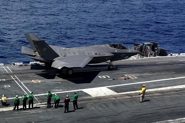 An F-35Cs sits on the flight deck of the carrier USS Abraham Lincoln (CVN-72) on August 27, 2018. (Military.com/Matthew Cox)
