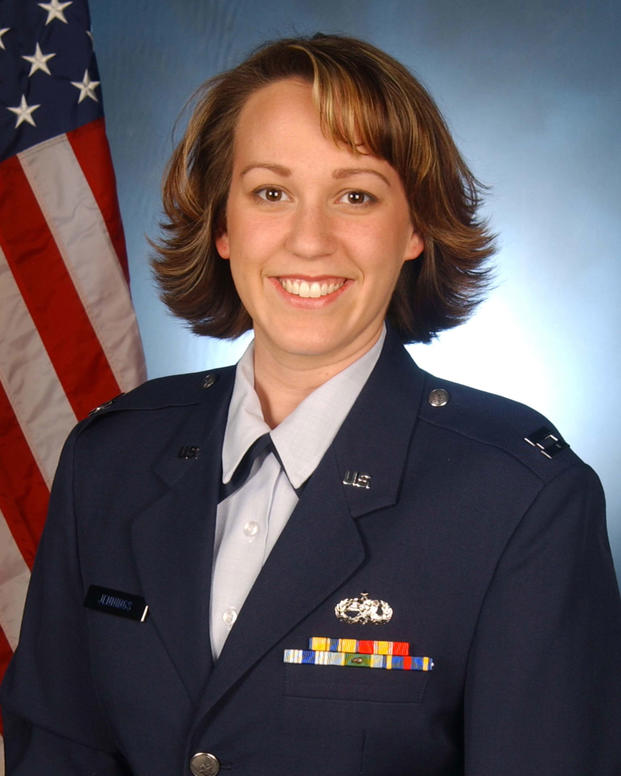 MJ Hegar appears in uniform in this undated Air Force service photo.