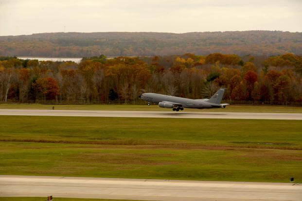 A KC-135 Stratotanker takes off from Pease Air National Guard Base, N.H., Nov. 5, 2017. (N.H. Air National Guard photo by Airman 1st Class Victoria Nelson)