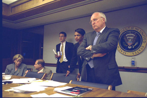 Vice President Dick Cheney and National Security Advisor Condoleezza Rice look on inside the President's Emergency Operations Center during meetings on the day of the Sept. 11, 2001, terrorist attacks. (National Archives)