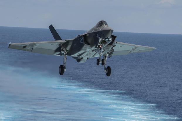 An F-35C Lightning II attached to the Argonauts of Strike Fighter Squadron (VFA) 147 approaches the flight deck of the Nimitz-class aircraft carrier USS Abraham Lincoln (CVN 72). (U.S. Navy/Mass Communication Specialist 3rd Class Daniel E. Gheesling)