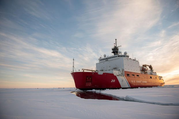 The U.S. Coast Guard Cutter Healy (WAGB-20) is in the ice Wednesday, Oct. 3, 2018, about 715 miles north of Barrow, Alaska, in the Arctic. The Healy is in the Arctic with a team of about 30 scientists and engineers aboard deploying sensors and autonomous submarines to study stratified ocean dynamics and how environmental factors affect the water below the ice surface for the Office of Naval Research. (NyxoLyno Cangemi/U.S. Coast Guard)