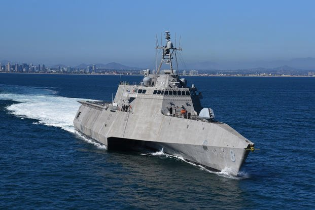 USS Montgomery (LCS 8) transits from Naval Base San Diego to the Pacific Ocean to conduct routine operations and training, June 26, 2018. Littoral combat ships are high-speed, agile, shallow draft, mission-focused surface combatants designed for operations in the littoral environment, yet fully capable of open ocean operations. (U.S. Navy photo courtesy of Muckley Photography)
