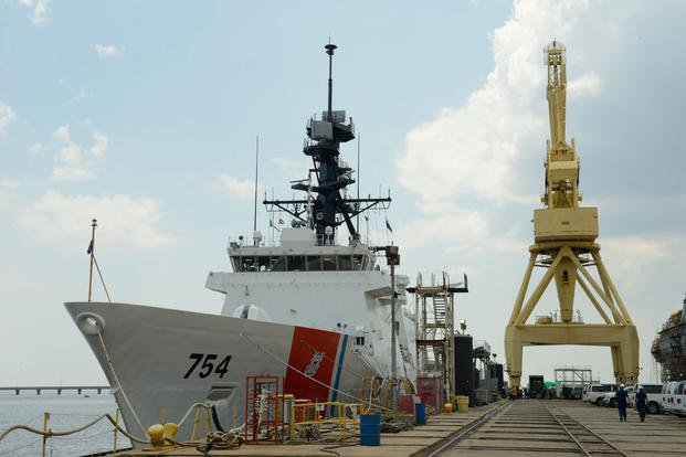 The Coast Guard Cutter James is docked at the Ingalls Shipbuilding yard in Pascagoula, Miss., June 5, 2015. (U.S. Coast Guard photo/Carlos Vega)