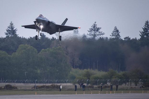 An F-35 Lightning II from the 34th Fighter Squadron at Hill Air Force Base, Utah, lands at Royal Air Force Lakenheath, England, April 19, 2017. (U.S. Air Force/Staff Sgt. Emerson Nunez)