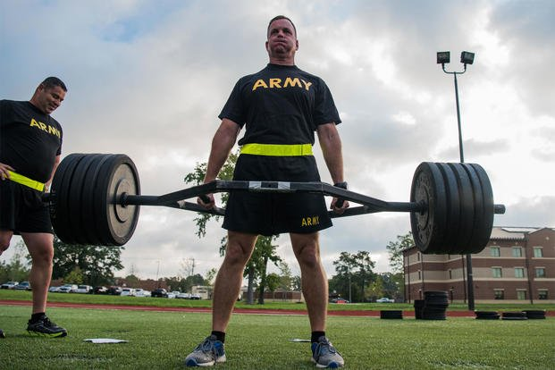 A U.S. Army Training and Doctrine Command senior leader participates in the strength deadlift during an exhibition of the new Army Combat Fitness Test at Joint Base Langley-Eustis, Va., Aug. 1, 2018. (U.S. Air Force/Senior Airman Tristan Biese)