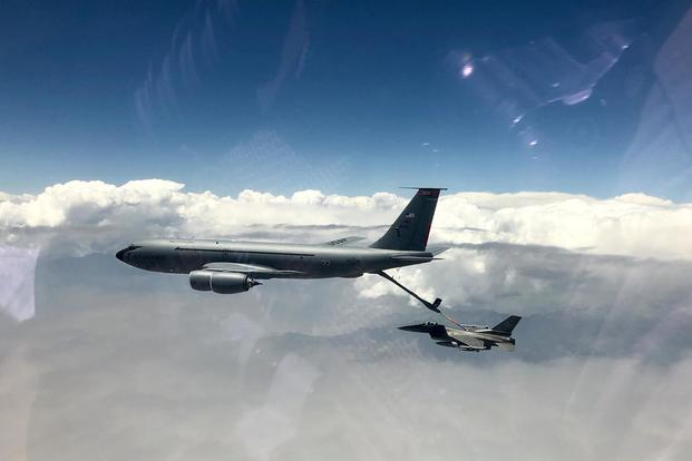 A KC-135 Stratotanker prepares to refuel an F-16 Fighting Falcon over Afghanistan in correlation with Operation Freedom's Sentinel. (U.S. Air Force/Staff Sgt. Kristin High)